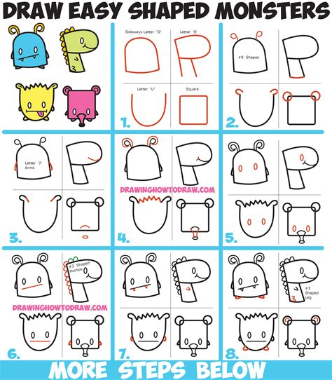 Drawing Numbers by How To Draw Monsters From Simple Shapes