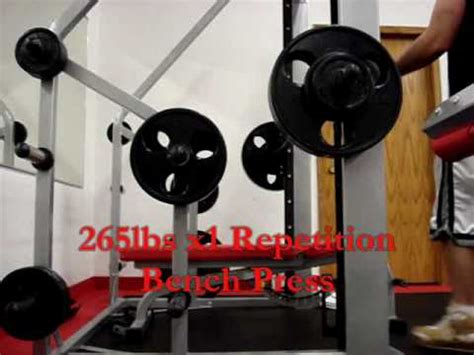 265lbs x1 repetition bench press snap fitness youtube