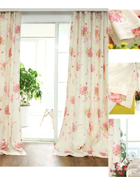 floral draperies fresh linen cotton pink print floral curtains