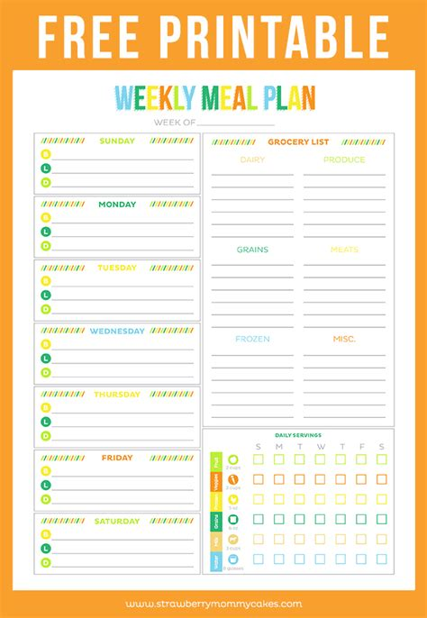 printable planner chart weekly meal plan printable calendar template 2016