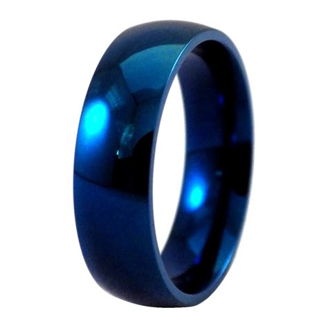 electric blue fashion ring stainless steel wedding band