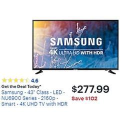 samsung 43 quot 4k smart led uhd tv w hdr at best buy black friday