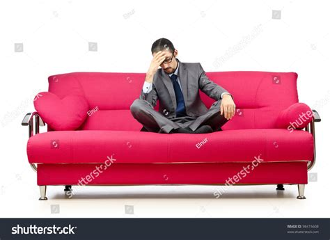 sitting in sofa man sitting sofa stock photo 98415608 shutterstock