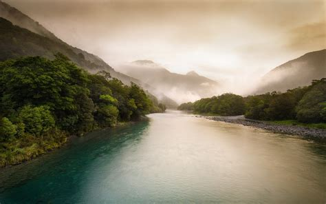 foggy  zea land river wallpapers foggy  zea land