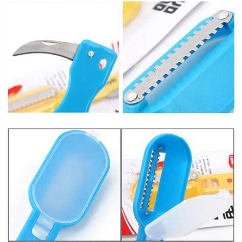 Pisau Pembersih Sisik Ikan Dilengkapi Pisau Untuk Iris Perut Ikan jual 2in1 alat pembersih sisik ikan pisau pan pan