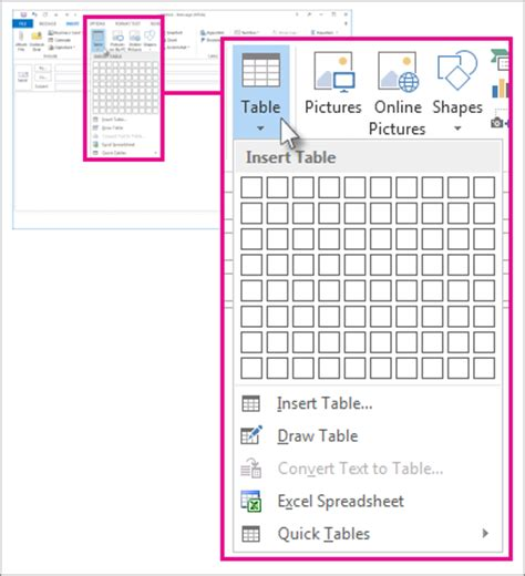 add a table to a message outlook
