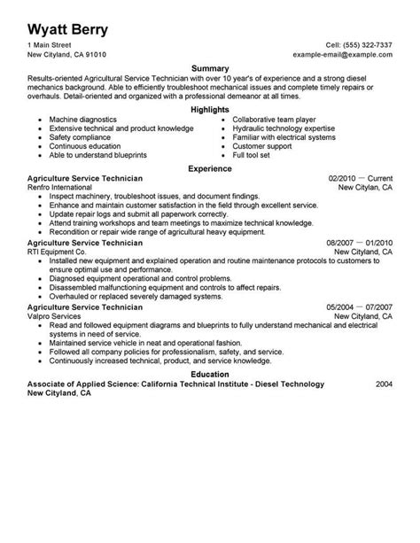 Tech Resume Template Best Service Technician Resume Exle Livecareer