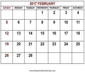 February Calendar Printable 2017 February Calendar