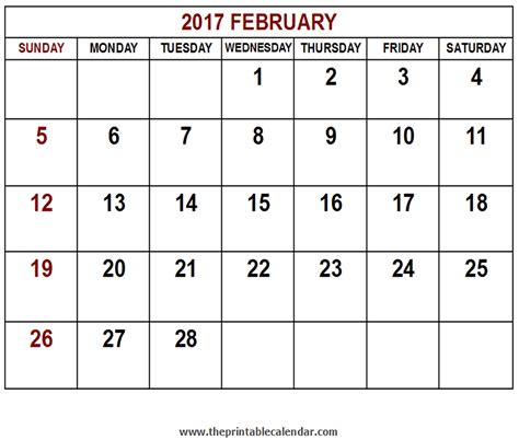 Feb 2017 Calendar Printable