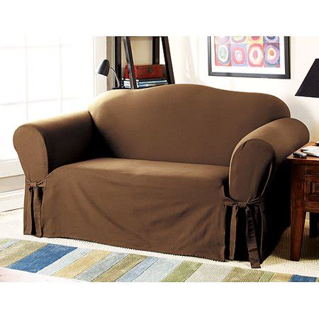 Sectional Slipcovers Walmart by Mainstays Cotton Duck Warm Chocolate Sofa Slipcover