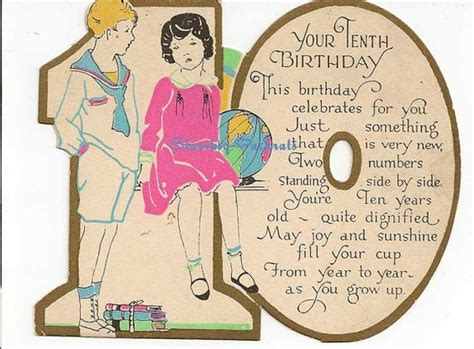 Happy Birthday Wishes 10 Year Boy Vintage Antique Used 10th Birthday Greeting Card For 10