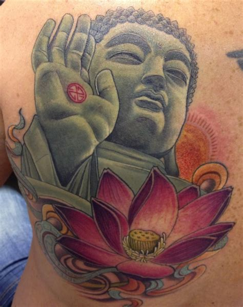 tattoo lotus buddha beautiful coloured buddha and lotus tattoo on whole back