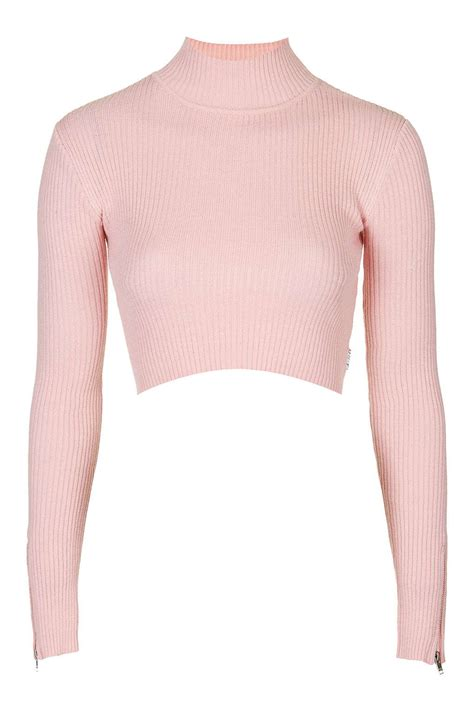 topshop turtle neck crop top by unif in pink lyst