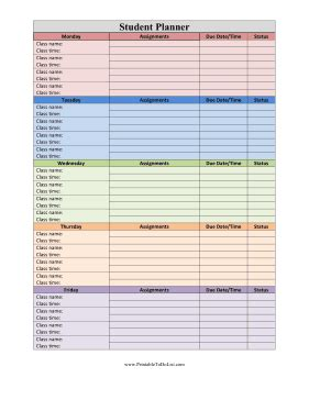 Student Planner Adhd To Do List Template