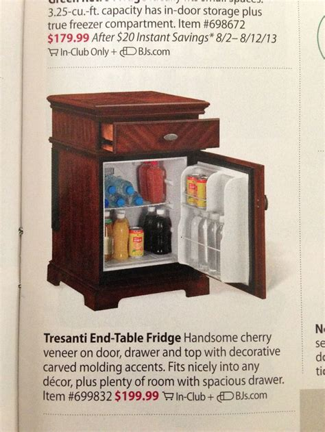end table fridge bjs this would be great for anyone whose kitchen is far from