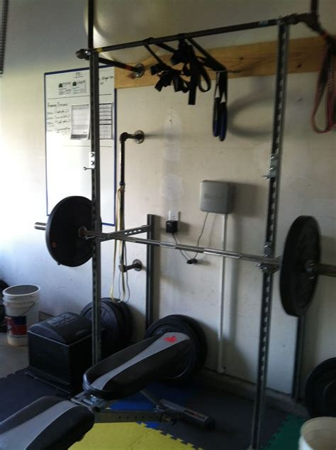 homemade unistrut bench  squat rack  pullup bar