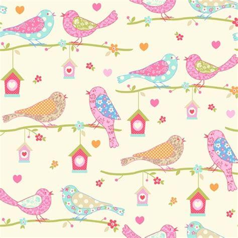 House Wall Murals debona dutch birds floral hearts cream amp pink textured