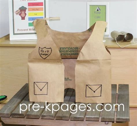 How To Make A Paper Bag Vest - paper bag park ranger vest for dramatic play cing theme