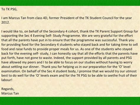 thank you letter to parents of students tkss parent support a thank you letter from sec 4