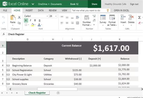 Record Account Payments Deposits With Check Register Template For Excel Checking Account Template For Excel