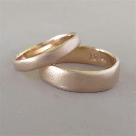 matte rose gold river wedding band in 14k rose gold choose a width