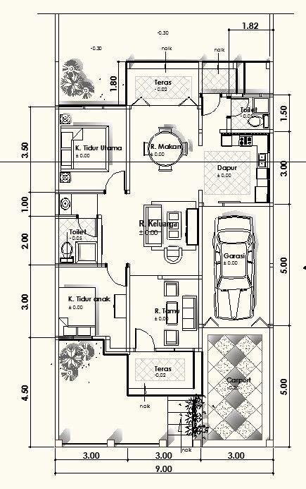 kumpulan contoh gambar denah rumah minimalis type 45 hitamnyadunia