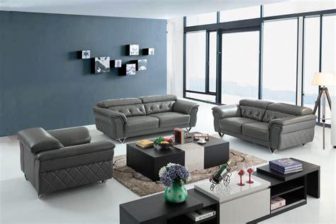 grey leather sofa set divani casa perry modern grey leather sofa set