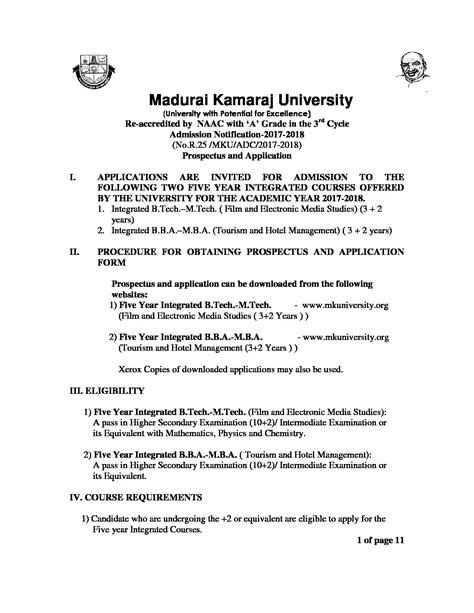 Bcom Mba Integrated Course by Madurai Kamaraj Mku Fee Structure Courses