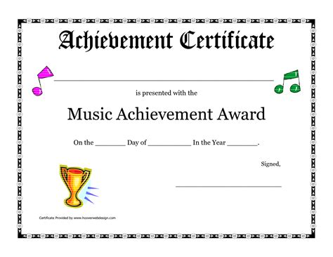 free printable achievement award certificate template