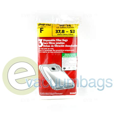 shop vac style f 10 14 gallon filter bags 90662
