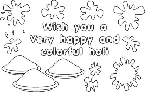 Holi Wishes Coloring Printable Page For Kids Holi Colouring Pages