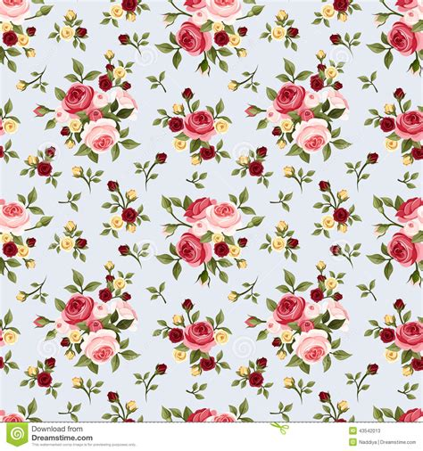pattern flower english vintage seamless pattern with pink roses on blue vector