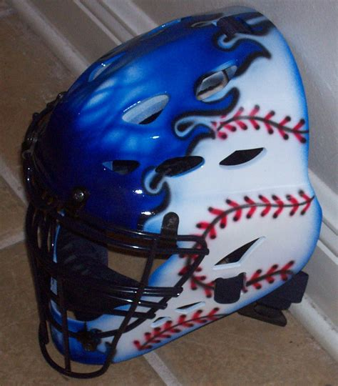 softball helmet design your own airbrush blue flaming baseball catchers helmet by