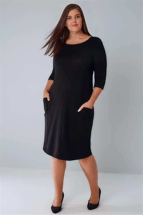 Dress Jersey Dress Jersey3 black jersey dress with drop pockets 3 4 length sleeves