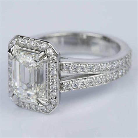 custom split shank emerald halo engagement ring