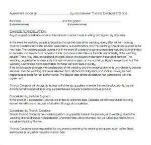 Sle Wedding Planner Contract by Wedding Contract Template 13 Free Documents In Pdf Word