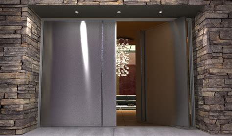 Custom Exterior Steel Doors Contemporary Stainless Steel Entry Doors Pair Of Modern Pivot Doors With Custom Pull Handles
