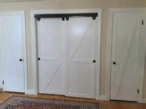 Barn Door Closet Hardware Remodelaholic How To Make Bypass Closet Doors Into Sliding Faux Barn Doors