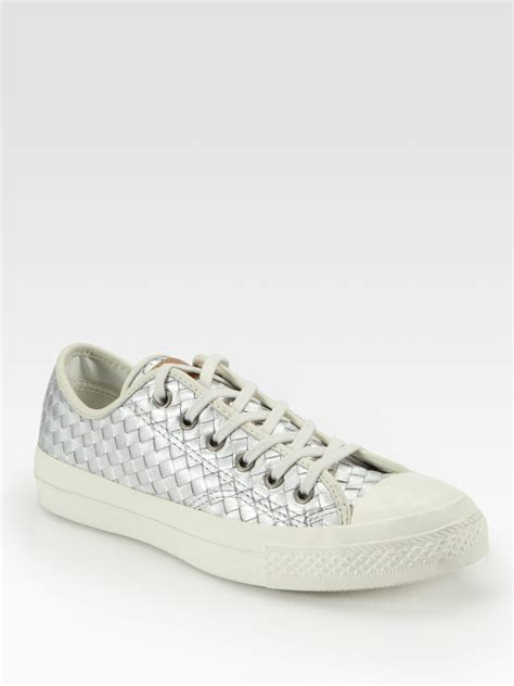 converse leather sneakers converse woven metallic leather sneakers in silver lyst