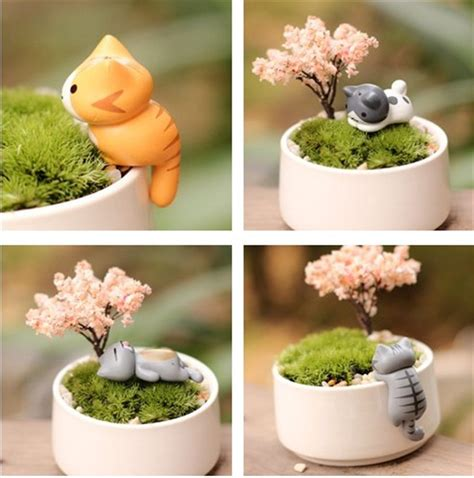 Cute Cactus Pots micro potted plants decorations animals cats ornaments