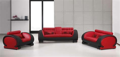 red and black leather couch red black two tone bonded leather modern 3pc sofa set