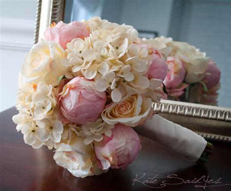 shabby chic wedding bouquet peony rose and by katesaidyes