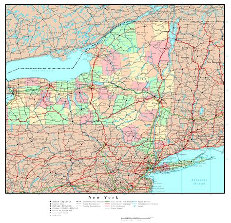 map of new york usa large detailed administrative map of new york state with