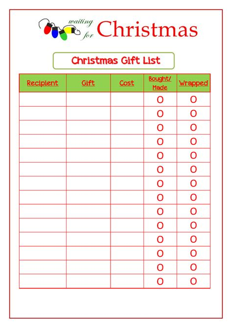 christmas wish list template free printable search