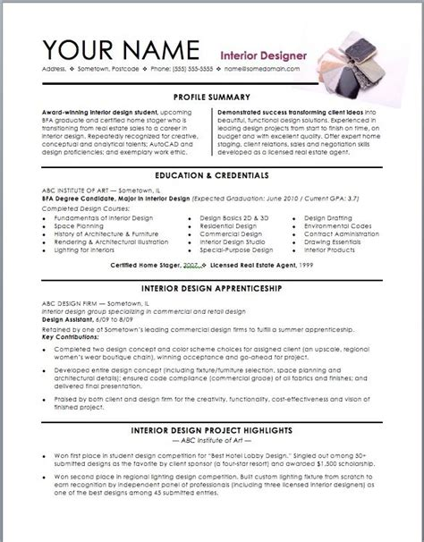 Resume Sle For Design Student Assistant Interior Design Intern Resume Template Interior Designer Cv Template Interior