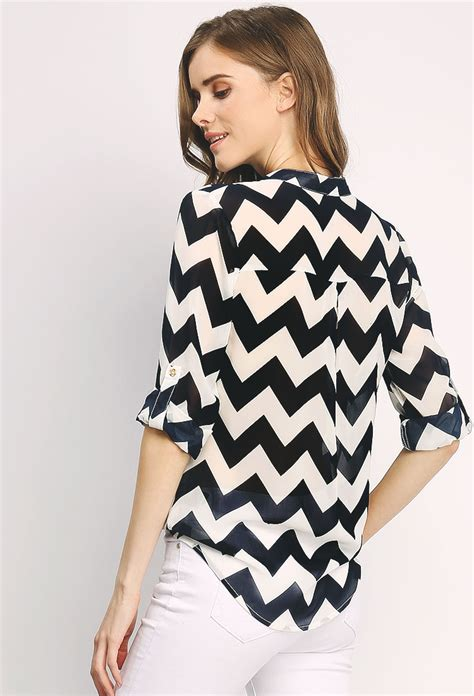 Zig Zag Chiffon Blouse C50852 zigzag patterned chiffon blouse shop new and now at