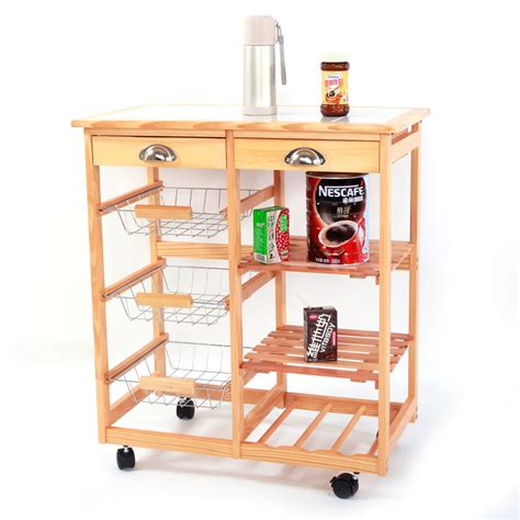 kitchen cart 2 door storage with 2 drawers and hidden rolling kitchen trolley cart storage drawer basket wine