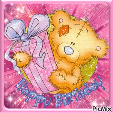 teddy pictures with happy birthday teddy with gift happy birthday animation pictures photos
