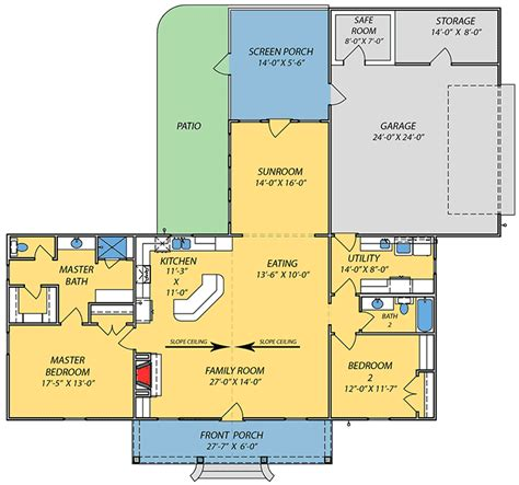 ranch floor plans with great room ranch house plan with vaulted great room 83859jw