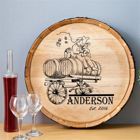 wine barrel sign wood home decor personalized wine barrel
